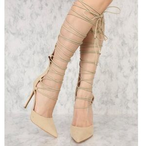 NUDE STRAPPY GLADIATOR HEELS WITH ZIPPER